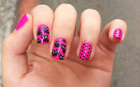 neon pink black cat halloween nails u2013 jolene tay