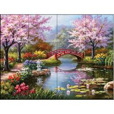the tile mural store japanese garden 17 in x 12 3 4 in ceramic