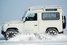 white land rover defender 90 defender snow le
