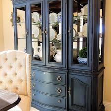dark wood china cabinet annie sloan napoleonic blue with dark wax keller furniture china