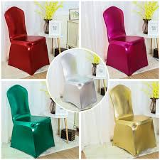 wholesale spandex chair covers metallic shiny gold and silver spandex chair cover banquet size