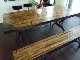 reclaimed oak boxcar plank table with benches recycled vintage