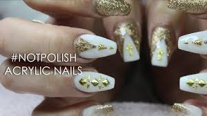 how to white and gold glitter coffin acrylic nails nail art