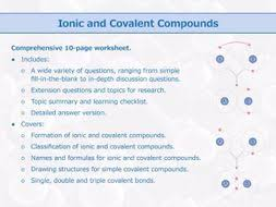 ionic and covalent compounds worksheet by goodscienceworksheets