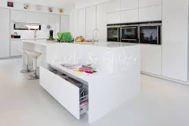 a contemporary family kitchen white high gloss designer white