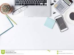 Modern White Office Desk Modern White Office Desk Table With Laptop Stock Photo Image