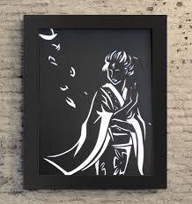 8 5x11 geisha paper cutout paper cutout illustration