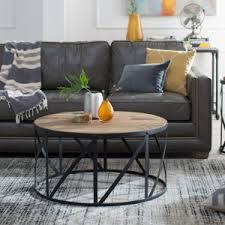 reclaimed wood round coffee table distressed industrial style coffee tables hayneedle