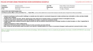 police officer crime prevention cv work experience
