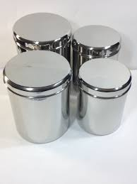 kitchen canisters stainless steel qualways jumbo stainless steel kitchen canister set of 4 set of 4