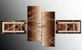 Hanging Artwork Large Brown Cream Abstract Canvas Picture Artwork 4 Pieces Multi