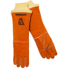 Kevlar Curtains Shoulder Split Cowhide Stick Welding Gloves 18