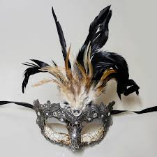 mask with feathers goddess masquerade mask feathers silver m7629