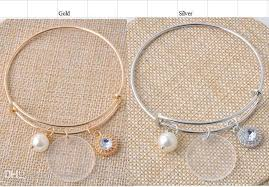 monogram bangle bracelet bulk wholesale 25mm clear acrylic disc 8mm pearl charm bracelet