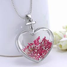 glass flower necklace images Romantic red dried flower vintage silver plated women pendant jpg
