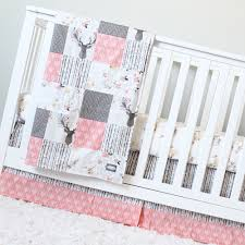 Baby Deer Nursery Crib Bedding Coral Taupe Woodlands Baby Bedding Deer