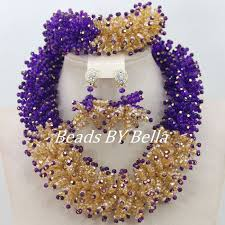 gold crystal beaded necklace images Fashion gold purple crystal statement choker necklace bridal jpg