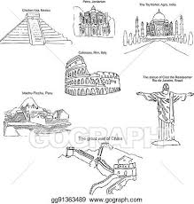 vector stock the modern seven wonders of the world sketch