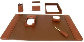 Brown Leather Desk Accessories Brown Leather 7 Desk Set Wood Arts Universe Llc