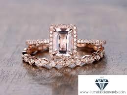 morganite wedding set 6x8mm emerald cut morganite engagement ring set matching deco