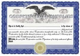 personalize stock certificates single class corporation print