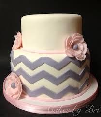 Chevron Gray And Pink Flower Baby Shower Bridal Shower Cake Keara