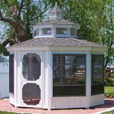 vinyl octagon and oval gazebo room amish cedar sunroom gazebo kit
