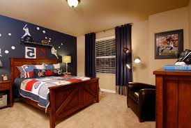 Red Bedroom Accent Wall - baseball decoration ideas kids traditional with blue accent wall