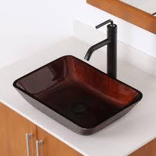 elite 1407 rectangle artistic bronze tempered glass vessel sink