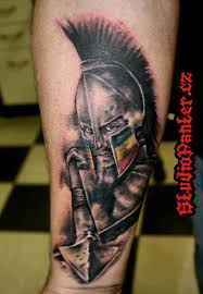 grey ink spartan greek warrior tattoo design in 2017 real photo