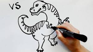 27 kids u0027 tutorials how to draw dinosaur t rex in 6 minutes