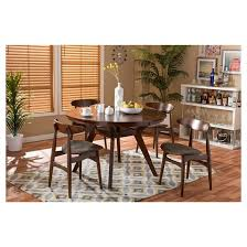 Montreal MidCentury Round Wood Dining Table Brown Walnut - Round wood dining room tables