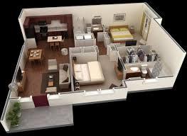 appartement avec une chambre plan maison 3d d appartement 2 pièces en 60 exemples