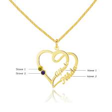 names necklace silver images Double heart loop name birthstone necklace 925 silver gold png