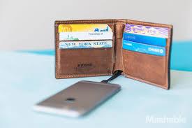 banned in quebec matt brunett this sleek leather wallet has a hidden iphone charger uni logo