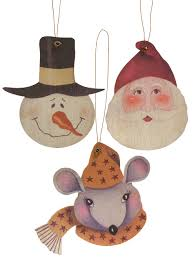 wooden christmas ornaments set of 3