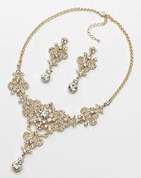gold wedding necklace set images Usabride victorian gold rhinestone jewelry set js 1660 g wedding