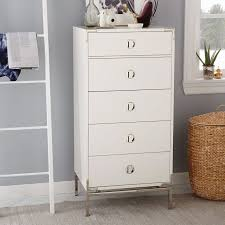 malone campaign 5 drawer tall dresser u2013 white lacquer west elm