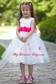Flower Girls Dresses For Less - handle flowers white scoop flower dress with sash under 100
