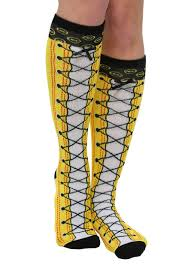faux lace up knee high socks
