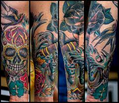 traditionalish nautical and day of the dead half sleeve tattoo
