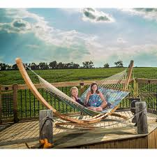 15 ft solid pine wood arc hammock stand