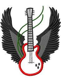 guitar with wings machine embroidery design 8 sizes