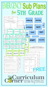 Idea Plans 5th Grade Emergency Sub Plans The Curriculum Corner 4 5 6