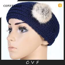 men headband popular style women men headband acrylic winter headband with pom