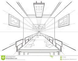 Room Sketch Architectural Sketch Interior Conference Room Stock Vector Image