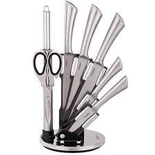7 piece set kitchen knives block stainless steel knife sharpener