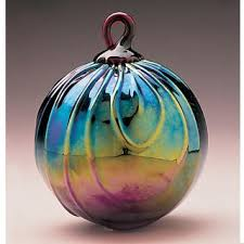 mt st helens volcanic ash blown glass ornament ruby