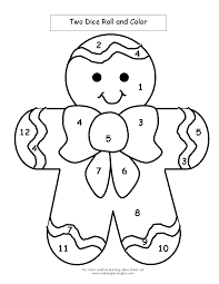 Gingerbread Man Worksheets Gingerbread Man Roll And Color Sketch Coloring Page