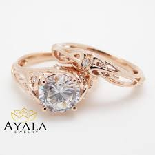 unique engagement ring settings 14k gold unique engagement rings 2 carat moissanite ring set